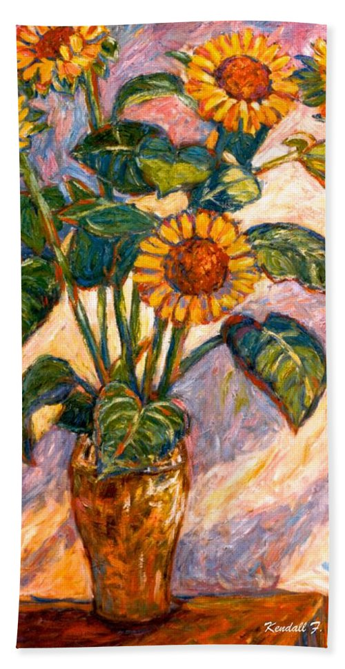 Floral Bath Towel featuring the painting Shadows On Sunflowers by Kendall Kessler