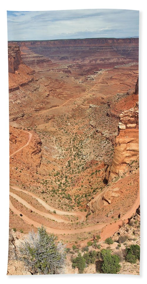 3scape Bath Towel featuring the photograph Shafer Trail by Adam Romanowicz