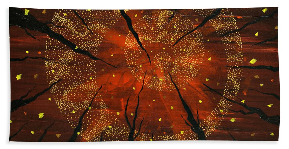 Rust Hand Towel featuring the painting Shaman's Dream by Joel Tesch
