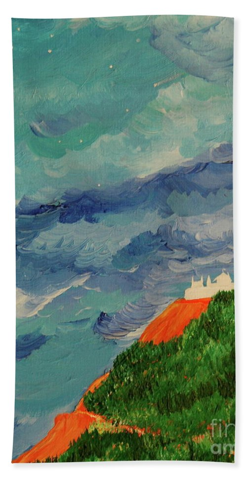 Landscape Hand Towel featuring the painting Shangri-la by First Star Art