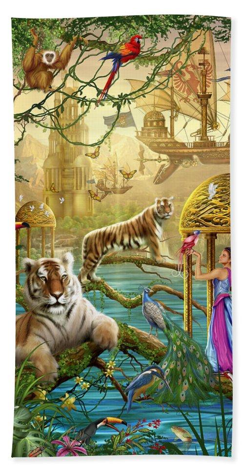 Animals Bath Sheet featuring the digital art Shangri La Summer by Ciro Marchetti