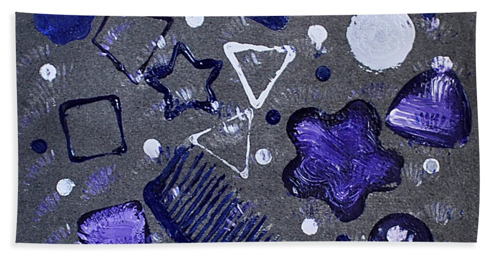 Shapes Hand Towel featuring the mixed media Shape From The Series The Elements And Principles Of Art by Verana Stark