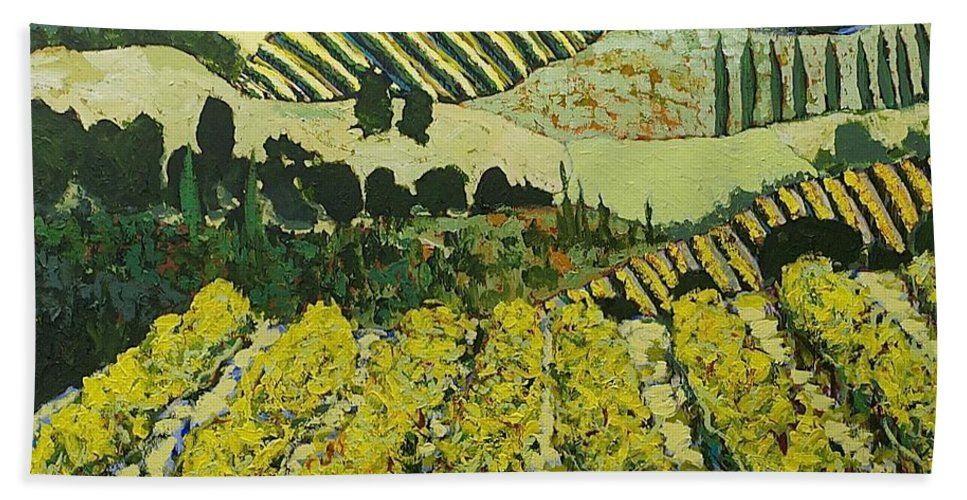 Landscape Hand Towel featuring the painting Sharing The Discovery by Allan P Friedlander
