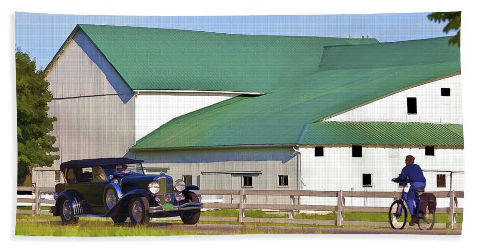 Barn Hand Towel featuring the photograph Sharing The Road by Jack R Perry