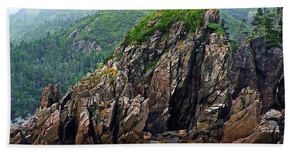 Sharp Rocks Hand Towel featuring the photograph Sharp Jagged Rocks by Barbara Griffin