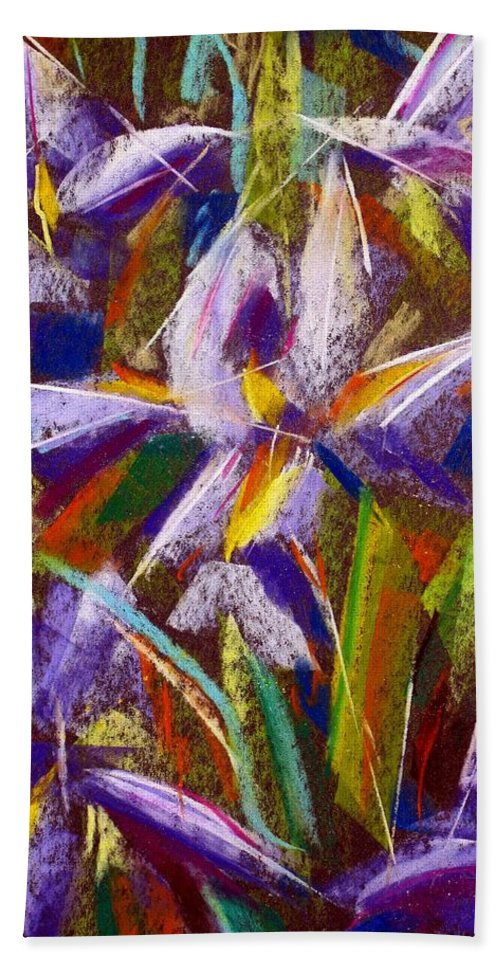 Abstract Irises Purple Garden Flowers Galina Khlupina Fine Art Phone Cases Greeting Cards Hand Towel featuring the painting Sharp Mood by Galina Khlupina