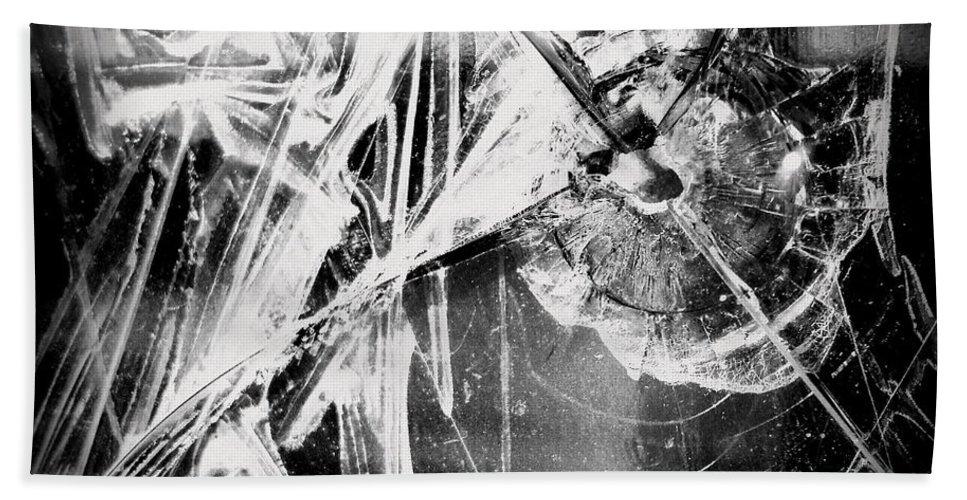 Joseph Skompski Hand Towel featuring the photograph Shatter - Black And White by Joseph Skompski
