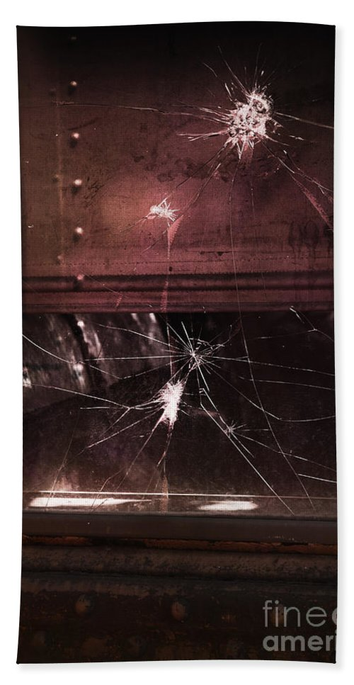 Building Hand Towel featuring the photograph Shattered Window by Margie Hurwich