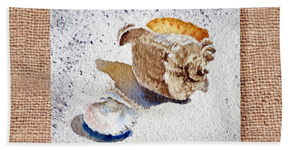Seashell Hand Towel featuring the painting She Sells Sea Shells Decorative Collage by Irina Sztukowski