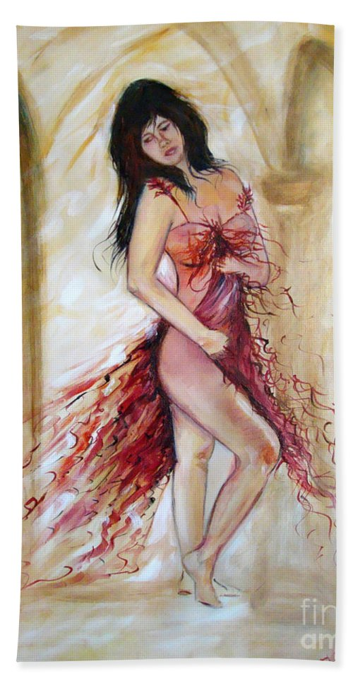 Contemporary Art Bath Sheet featuring the painting She by Silvana Abel