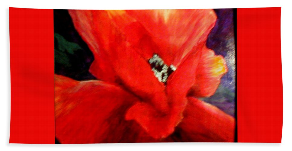 Floral Hand Towel featuring the painting She Wore Red Ruffles by Gail Kirtz