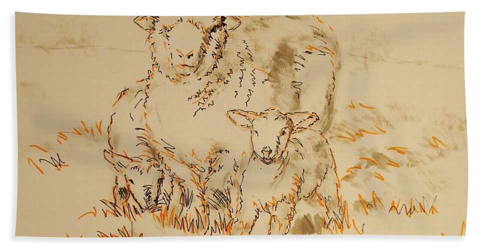Sheep Hand Towel featuring the painting Sheep And Lambs by Mike Jory