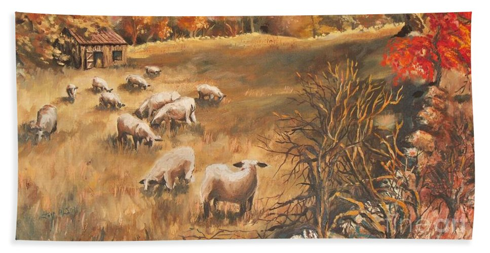 Oil Painting Bath Towel featuring the painting Sheep in October's field by Joy Nichols
