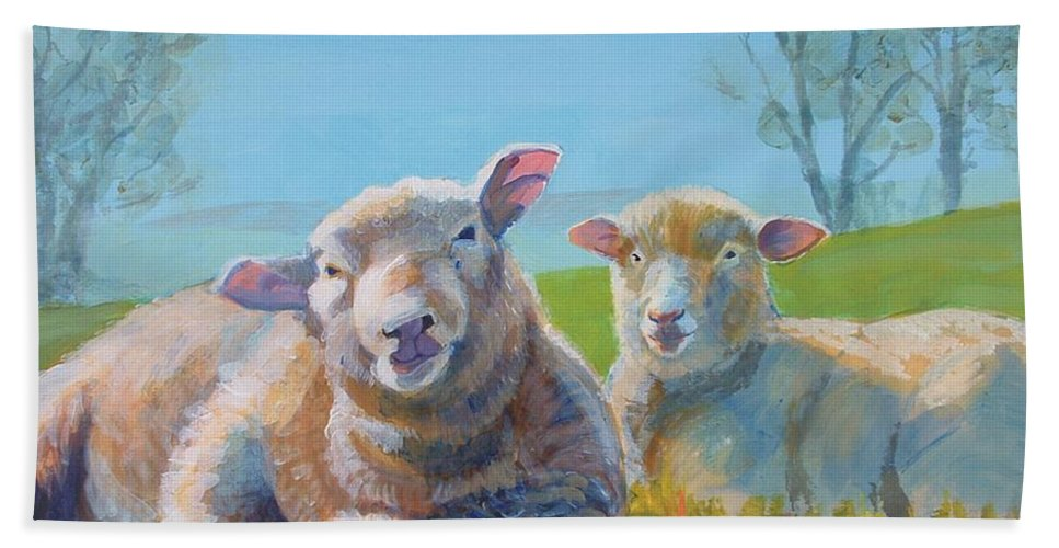 Sheep Hand Towel featuring the painting Sheep Lying Down by Mike Jory