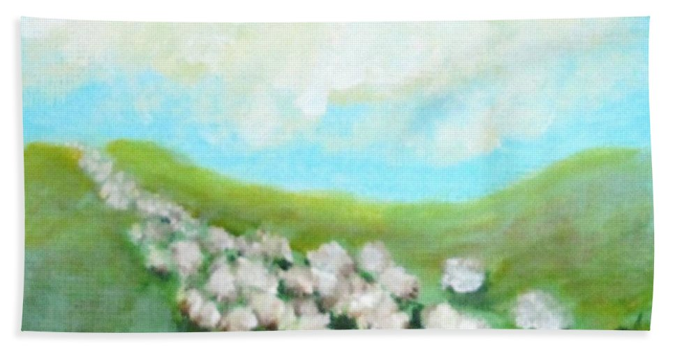 Sheep Hand Towel featuring the painting Sheep On The Move by Laurie Morgan