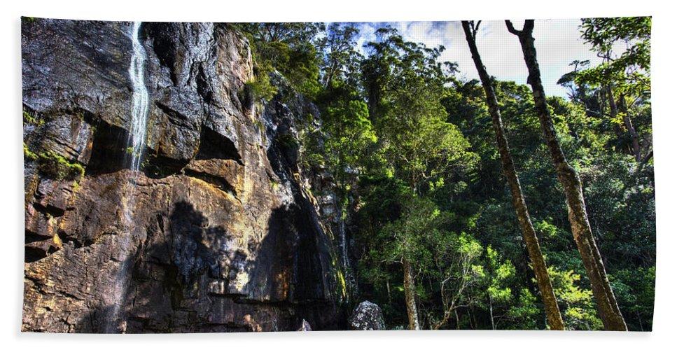 Cascade Bath Sheet featuring the photograph Sheer Cliff With Waterfall by Darren Burton
