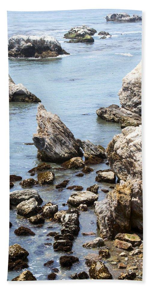 Shell Beach Rocky Coastline Hand Towel featuring the digital art Shell Beach Rocky Coastline by Baarbara Snyder