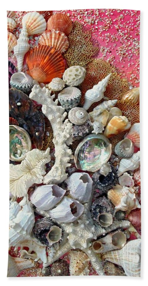 Shells Hand Towel featuring the mixed media Shell Creation 13 by Karin Dawn Kelshall- Best