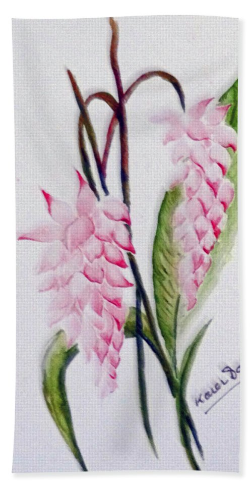 Tropical Ginger Hand Towel featuring the painting Shell Ginger by Karin Dawn Kelshall- Best
