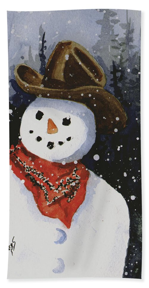 Snow Hand Towel featuring the painting Shelly's Snowman by Sam Sidders