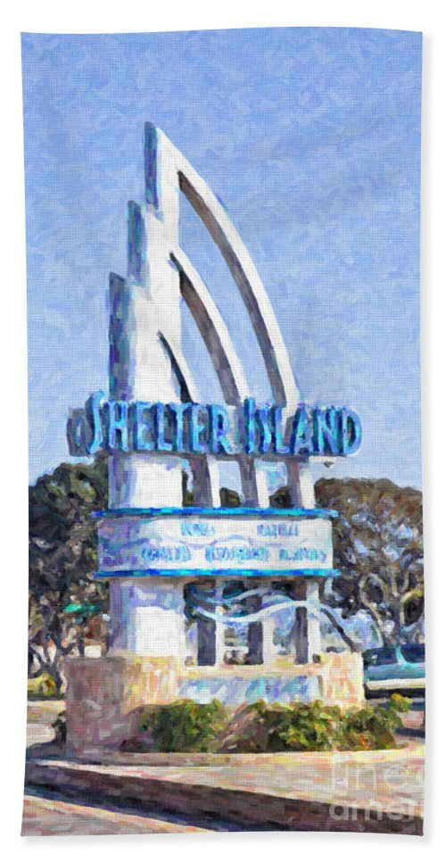 Shelter Island Hand Towel featuring the digital art Shelter Island Sign San Diego California Usa by Liz Leyden