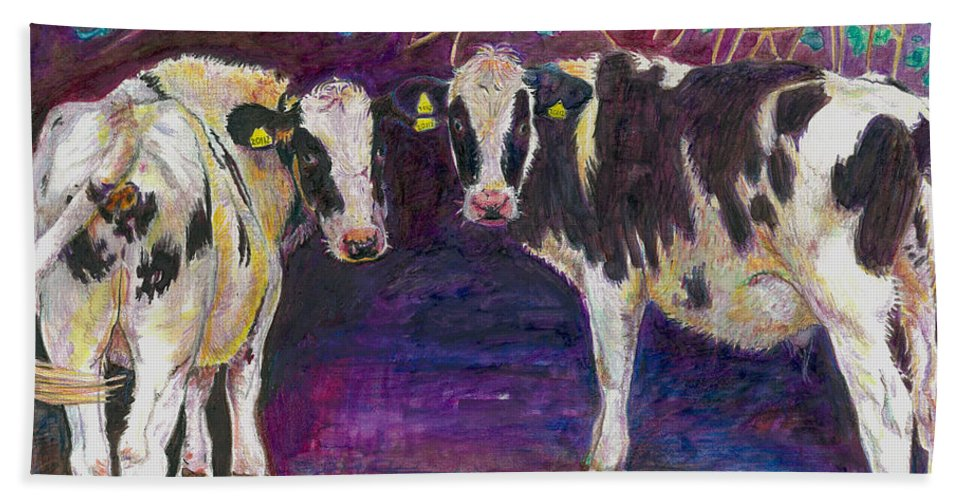 Cow Bath Sheet featuring the painting Sheltering Cows by Helen White