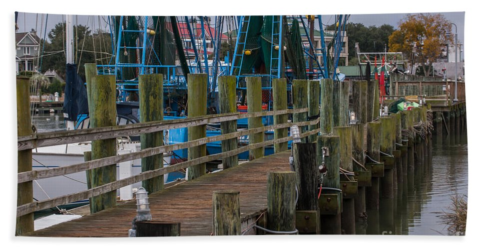 Pier Hand Towel featuring the photograph Shem Creek Pier by Dale Powell