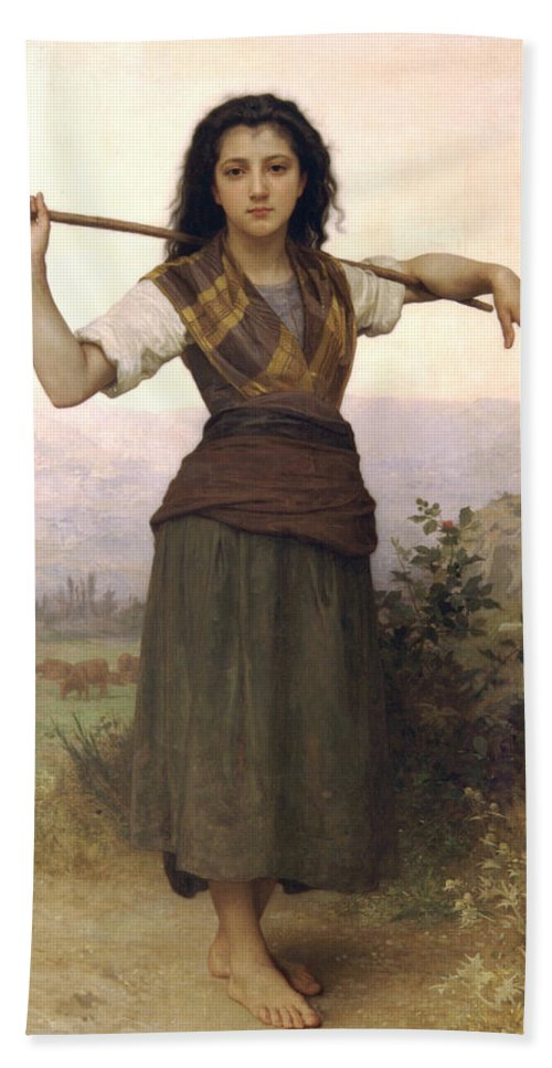 Shepherdess Hand Towel featuring the digital art Shepherdess by William Bouguereau