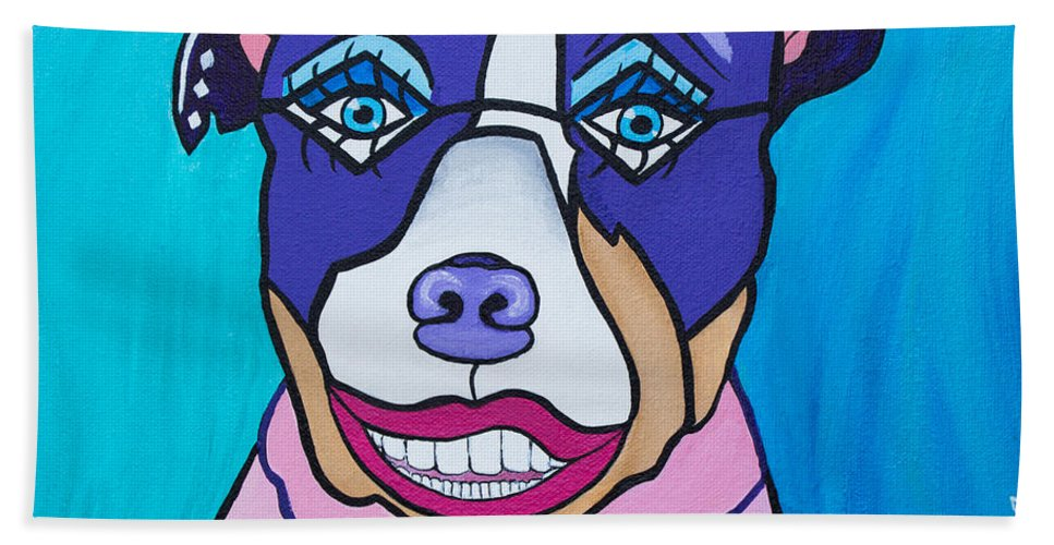 Pit Bull Hand Towel featuring the painting She's A Pit Bull That Wears Lipstick by Barbara McMahon