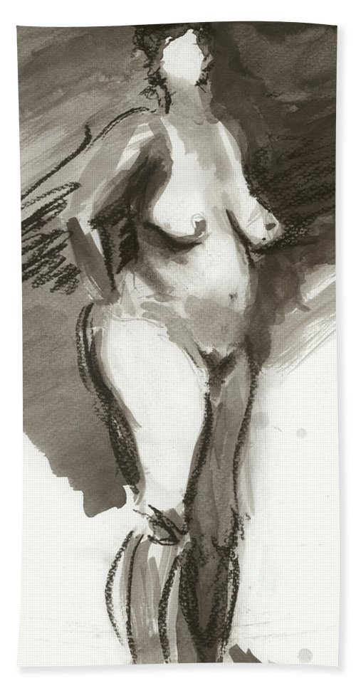 Female Nude Bath Sheet featuring the painting She's Got Game by Rebecca Zdybel
