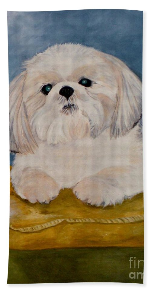 Dog Hand Towel featuring the painting Shihtzu by Graciela Castro