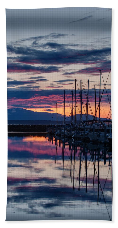 Shilshole Bath Sheet featuring the photograph Shilshole Olympic Mountains Sunset Vertical by Mike Reid
