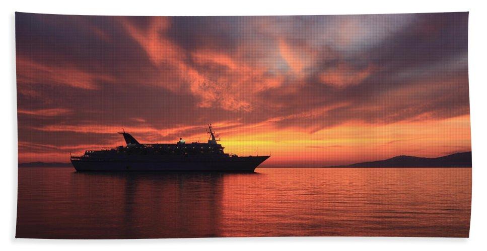 Aegean Bath Sheet featuring the photograph Ship At Mykonos Bay Mykonos Cyclades Greece by Ivan Pendjakov