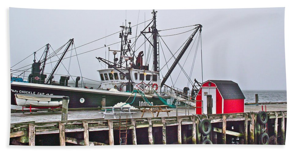 Ship Docked In Lunenburg Wharf In The Fog Hand Towel featuring the photograph Ship Docked In Lunenburg-ns by Ruth Hager