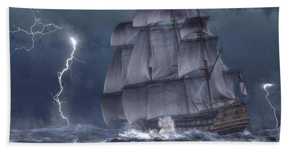Hms Victory Bath Sheet featuring the digital art Ship In A Storm by Daniel Eskridge