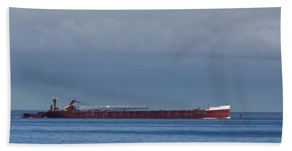 Mackinac Hand Towel featuring the photograph Ship On Lake Huron 1 by John Brueske