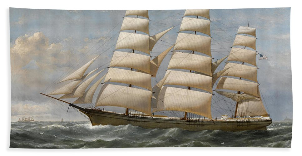Horizon Bath Sheet featuring the painting Ship by Samuel Walters
