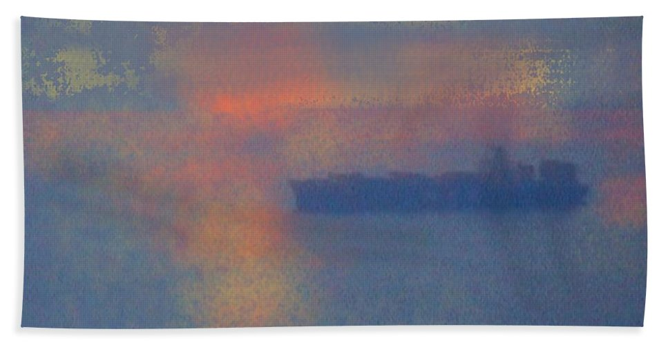 Ship Hand Towel featuring the photograph Shipping by Marcello Cicchini