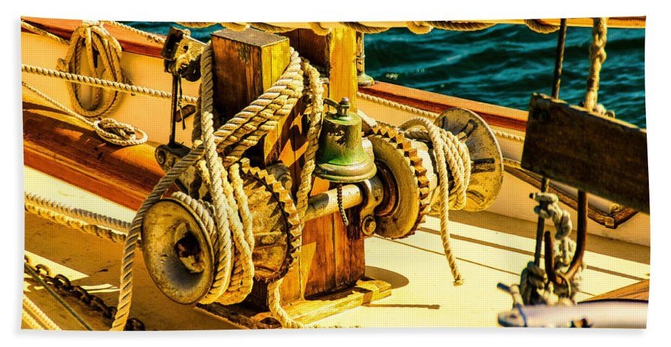 Bell Hand Towel featuring the photograph Ships Bell Sailboat by Bob Orsillo