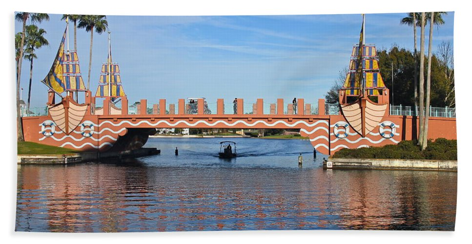 Bridge Bath Sheet featuring the photograph Ships On Waves Bridge by Denise Mazzocco