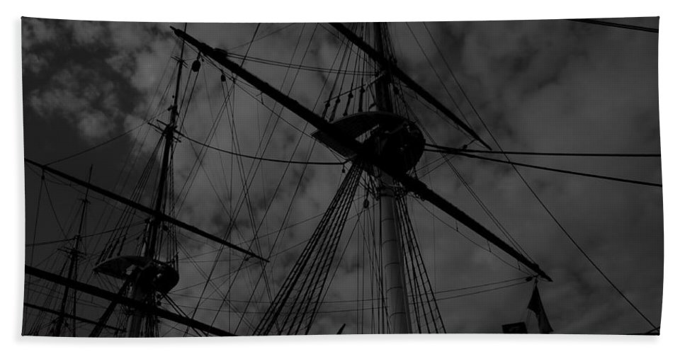 Ships Hand Towel featuring the photograph Ships Silhouette by Cathy Anderson