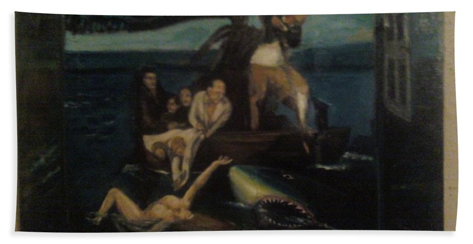 Bath Towel featuring the painting Shipwrecked Psyche Unfinished by Jude Darrien