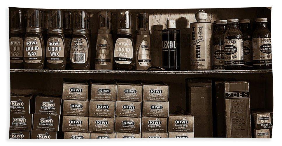 Shoe Bath Sheet featuring the photograph Shoe Shine Rack Bw by David Morefield