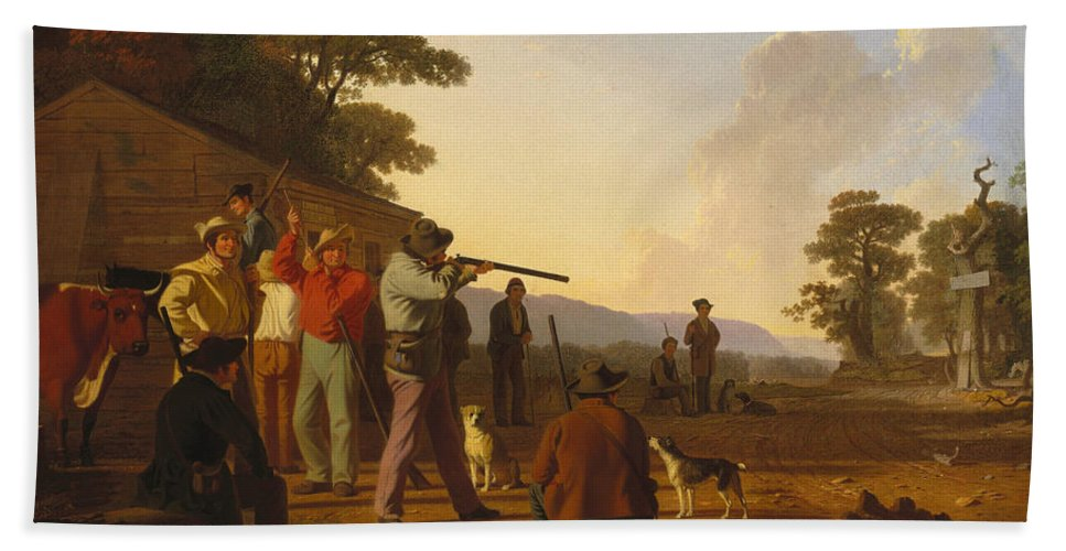 George Caleb Bingham Bath Sheet featuring the painting Shooting For The Beef by George Caleb Bingham