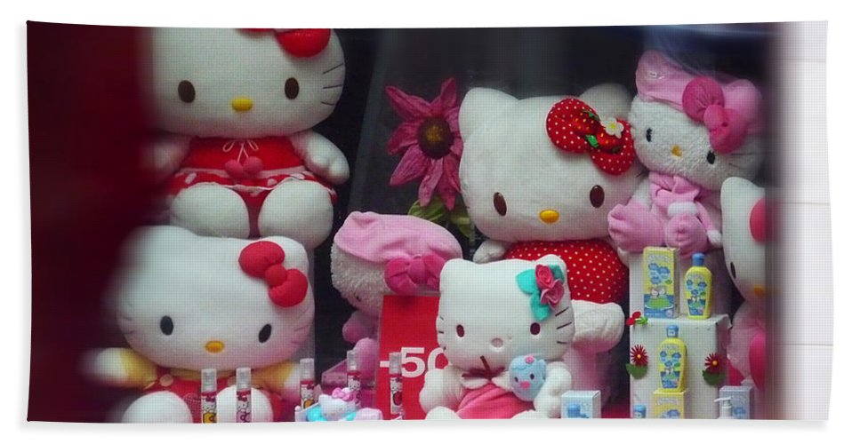 Hello Kitty Shop Window Bath Sheet featuring the painting Shop Window Spain by Charles Stuart