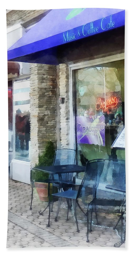 Cafe Bath Sheet featuring the photograph Shopfront - Music And Coffee Cafe by Susan Savad