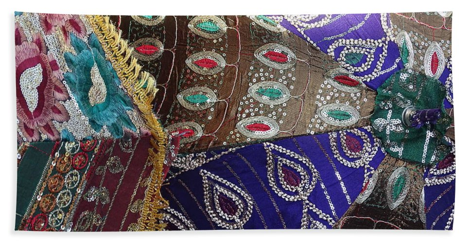 dbf3f06acfde Shopping Bath Towel featuring the photograph Shopping Colorful Umbrellas Sale  Jaipur Rajasthan India by Sue Jacobi
