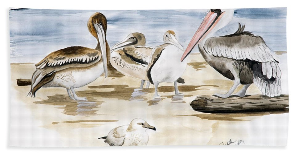 Birds Bath Sheet featuring the painting Shore Birds by Joette Snyder