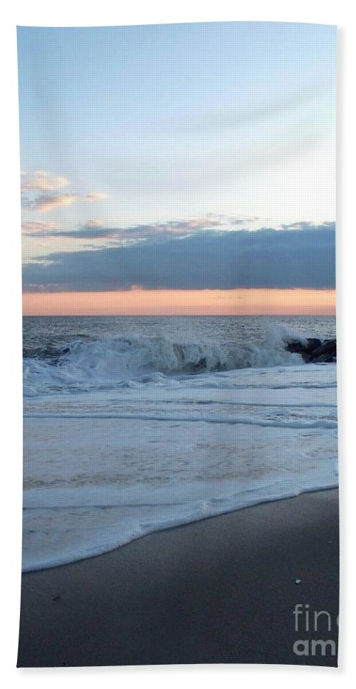 Shoreline Hand Towel featuring the photograph Shoreline And Waves At Cape May by Eric Schiabor