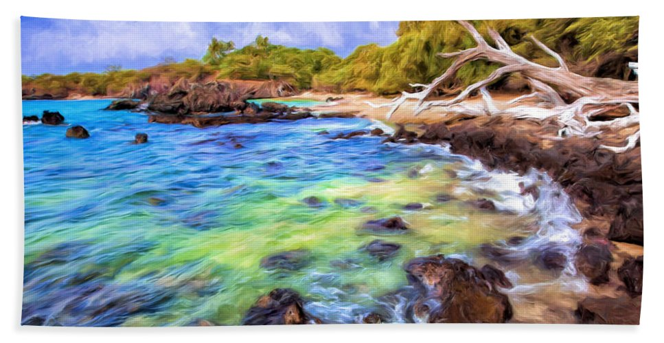 Big Island Bath Sheet featuring the painting Shoreline At Puako by Dominic Piperata
